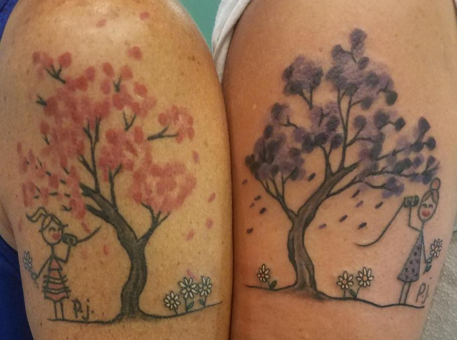 Tattoo Columbus Ohio Curtis Shepherd- Tattoo Best Friend tattoo Tree with Girls on can phone