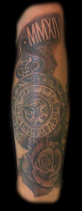 Tattoo Columbus Ohio Billy Hill - Tattoo Clock and Rose