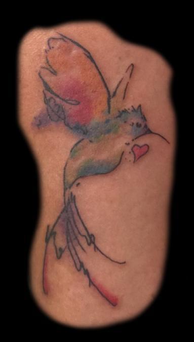 Tattoo Columbus Ohio Billy Hill - Tattoo Watercolor Hummingbird