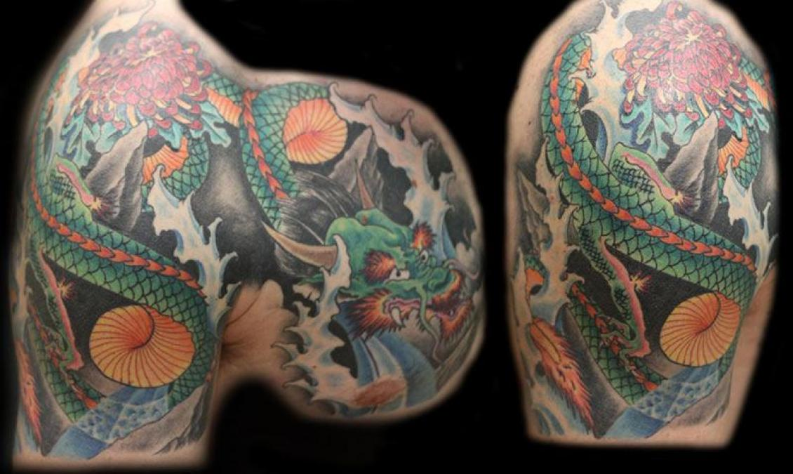 Tattoo Columbus Ohio Billy Hill - Tattoo Dragon on Chest and Shoulder
