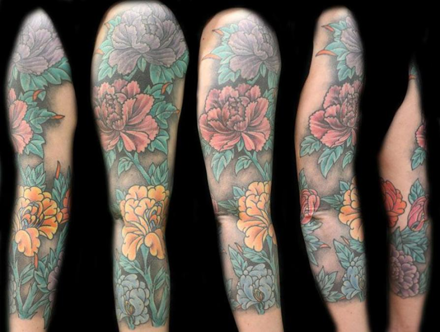Tattoo Columbus Ohio Billy Hill - Tattoo Flowers Sleeve