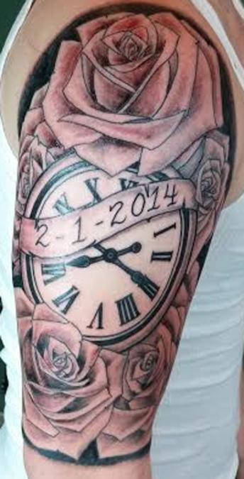 Tattoo Columbus Ohio Curtis Shepherd - Tattoo Clock Rose
