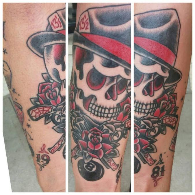 Tattoo Columbus Ohio Curtis Shepherd - Death Head with Hat