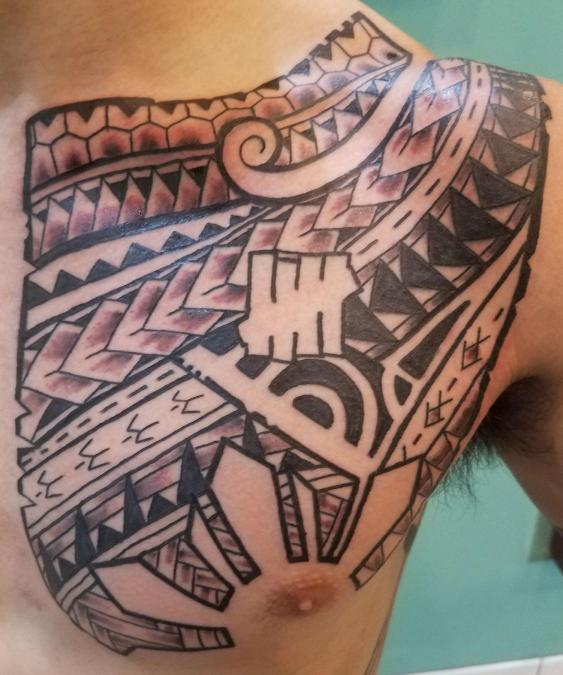 Tattoo Columbus Ohio Curtis Shepherd- Tattoo Polynesian Chest Plate